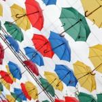 Alley of floating umbrella in St. Petersburg