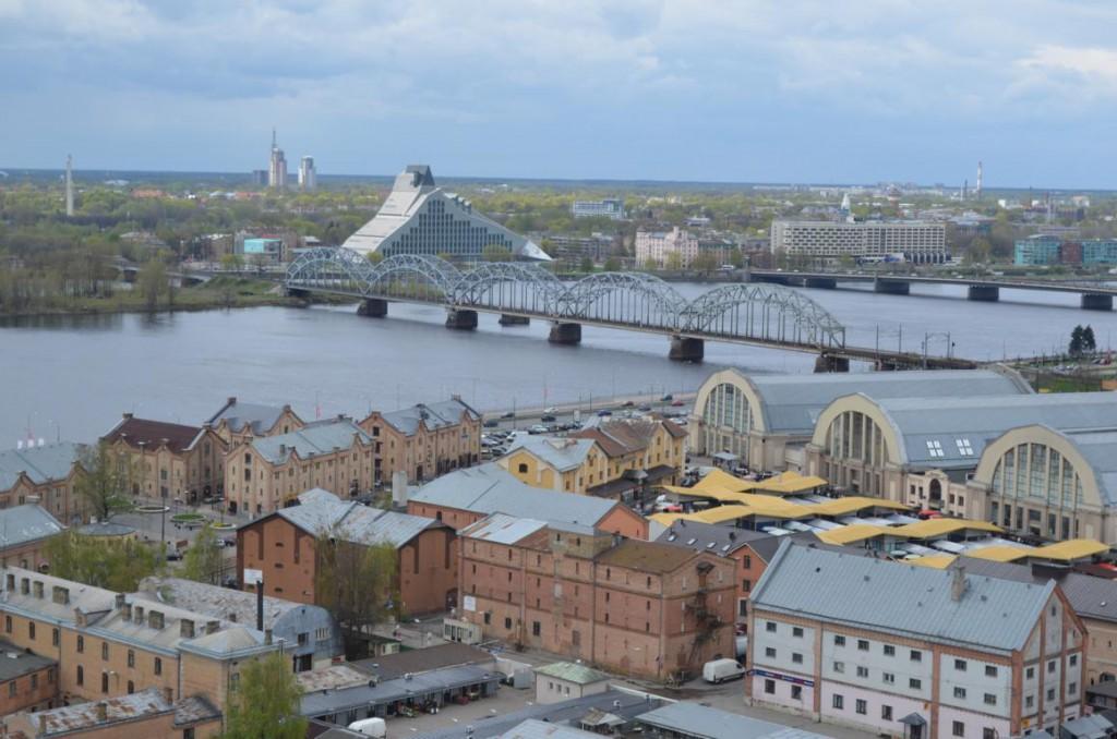 Riga von oben: Blick auf den Zentralmarkt.
