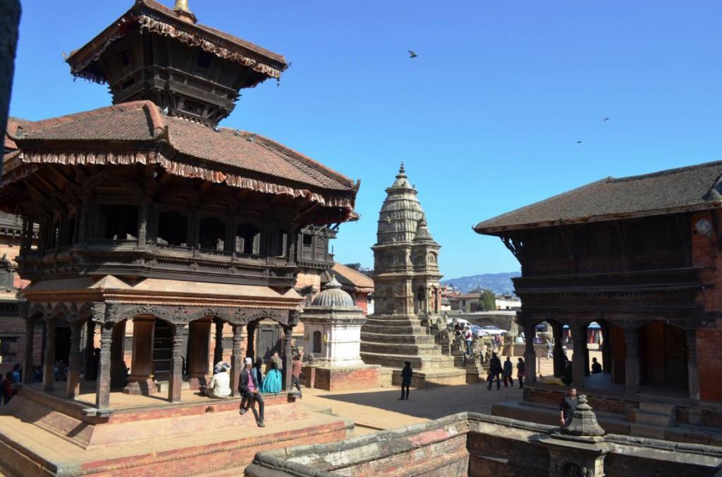 Durbar Suare in Bhaktapur: Rote Pavillions und Tempel säumen das Stadtbild