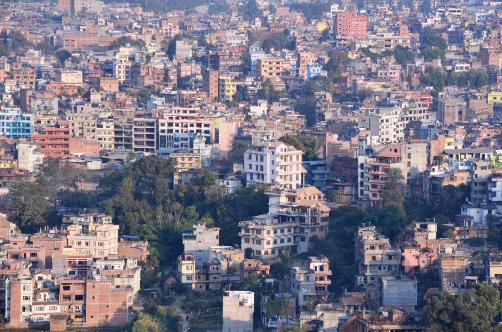 Aussicht auf Nepals dichtbesiedelte Hauptstadt Kathmandu