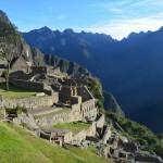Sonnenaufgang in der Ruine von Machu Picchu