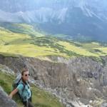 Trittsicherheit ist hier Pflicht: Aufstieg zum Mahnkopf während der Hüttewanderung Karwendel.