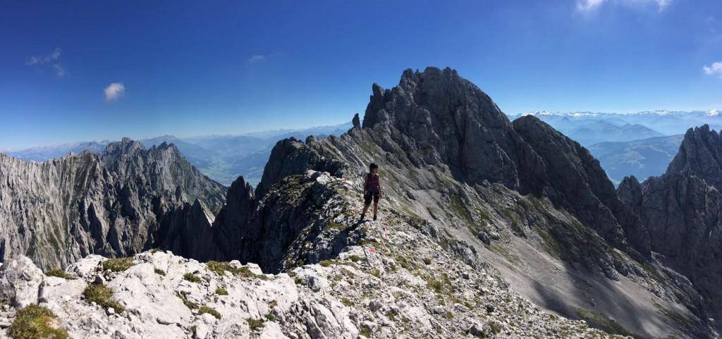 Klettersteige am Wilden Kaiser: Ausblick vom Gamshalt
