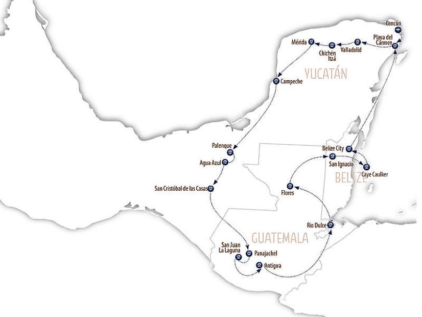 Routenvorschlag für deine Rundreise durch Mexiko, Guatemala und Belize