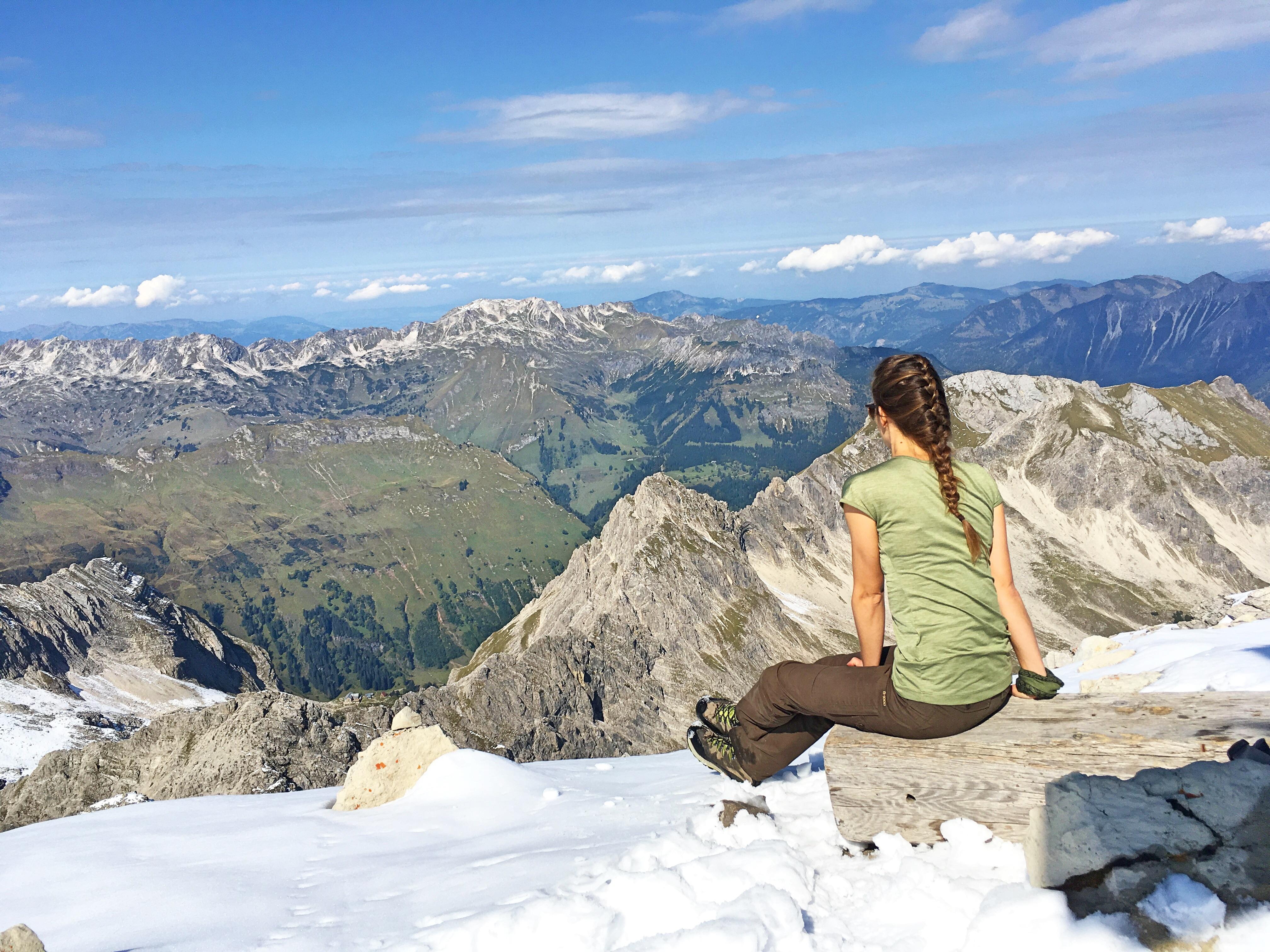 Bergtour Hochvogel: Panorama Blick vom Gipfel.