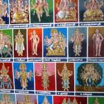 Verzierte Wänder im Minakshi-Tempel