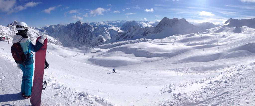 Panorama Zugspitze: Mit dem Snowboard auf dem höchsten Berg Deutschlands