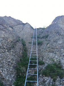 Leiter hinauf zu Steineberg auf der Mittag Rundwanderung bei Immenstadt.