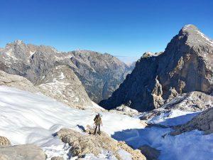 Triglav Besteigung: Über den einstigen Gletscher zum Triglav Haus.