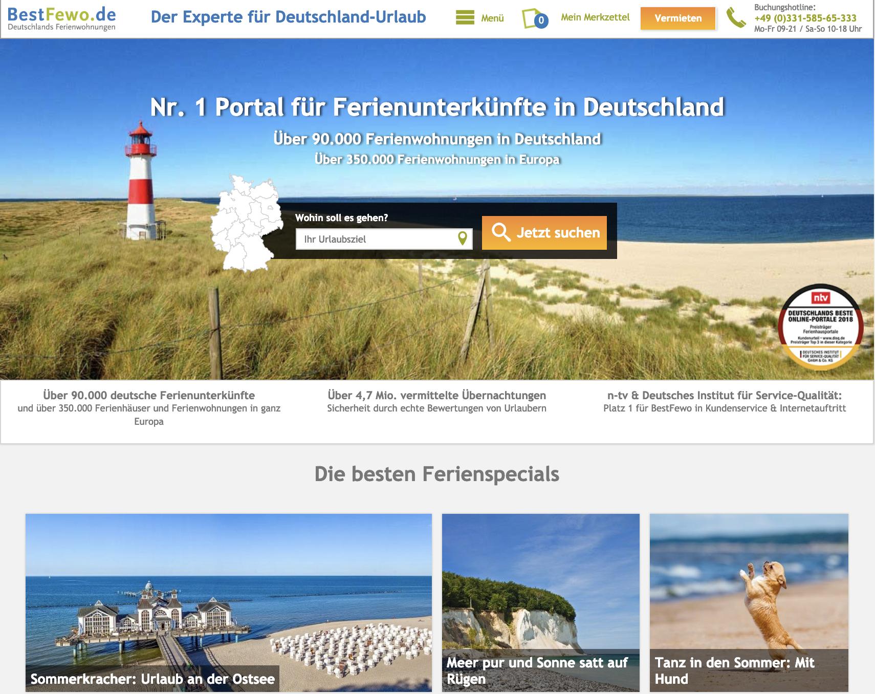 Eine Ferienwohnung mieten muss nicht kompliziert und langwierig sein. Buchungsportale wie bestfewo.de bieten dir intelligente Filter und Gästebewertungen. (Quelle: www.bestfewo.de)
