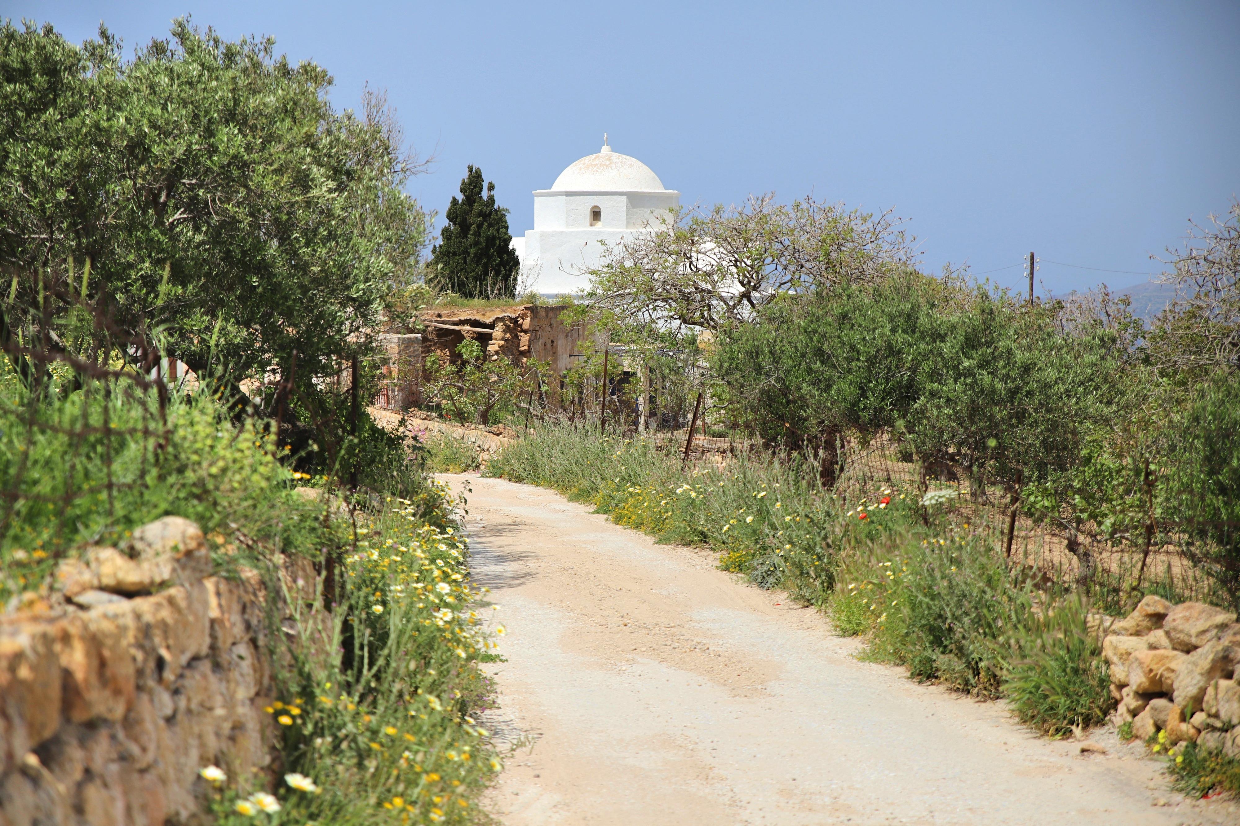 Vom Hof der Agia Marina Church bekommst du einen wundervollen Panorama Blick über die gesamte Insel.